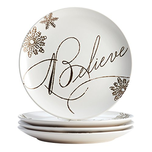 Paula Deen Dinnerware Stoneware Holiday Salad/Dessert Plate Set, 4-Piece, Winter Charm Pattern, - Christmas Dishes