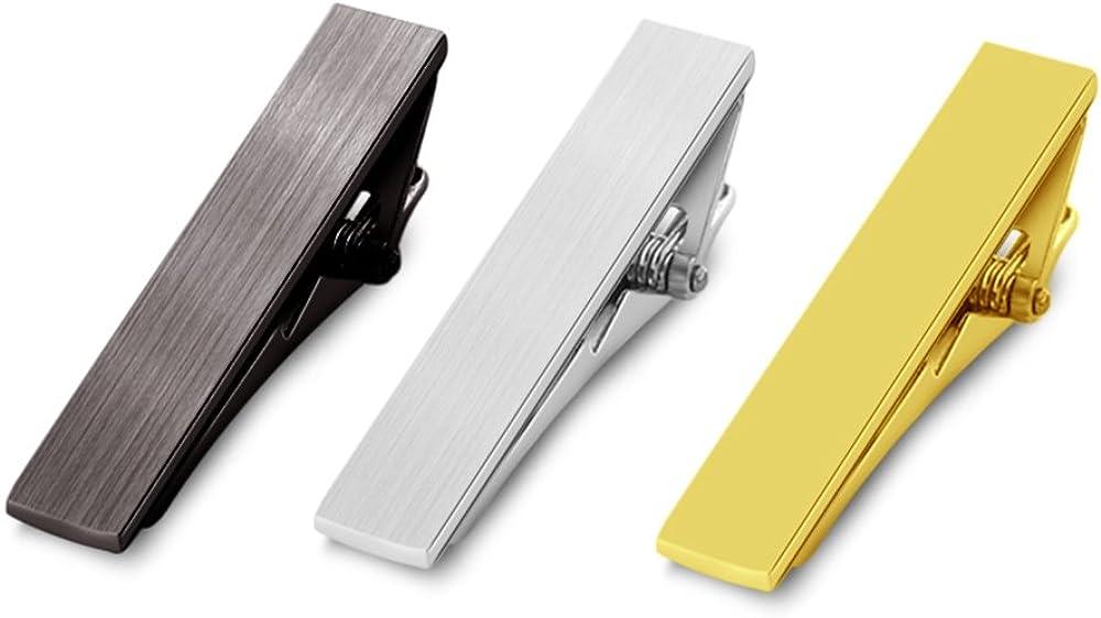 Merit Ocean Mens Exquisite Tie Bar Pinch Clip Classic Tie Pins Set Regular Ties Clips 2.2 Inch Silver Gunblack Golden Color 3 Pcs