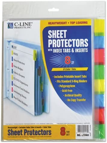 """C-Line 05580 Sheet Protectors with Index Tabs, Assorted Color Tabs, 2"""", 11 x 8 1/2, 8/ST [並行輸入品]"""