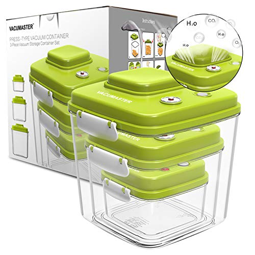 Food Storage Container Set with Vacuum Sealed Airtight Lid - Vacumaster Quick Marinator Leak Proof BPA Free Pumpable Press Type Fresh Keeper (Set of 3)