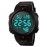 Carolinna Men's Military Digital Watch Waterproof Sport Watch LED Luminous Stopwatch-Black