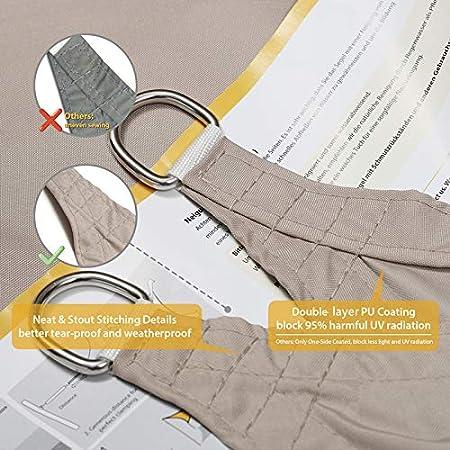 Sekey Toldo Vela de Sombra Rectangular Protecci¨®n Rayos UV, Resistente Impermeable Transpirable para Patio, Exteriores, 2×3m Gris Pardo, con Cuerda