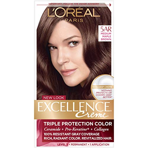 L'Oréal Paris Excellence Créme Permanent Hair Color, 5AR Medium Maple Brown, 1 kit 100% Gray Coverage Hair - Brown Color Hair Eyes