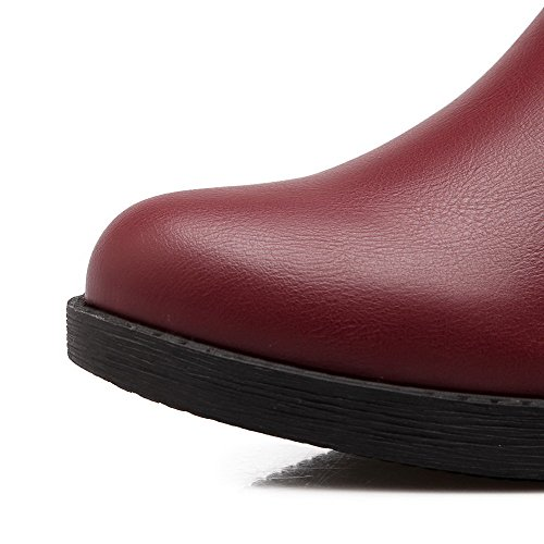 AmoonyFashion Womens Solid PU Kitten-Heels Zipper Round Closed Toe Boots Claret