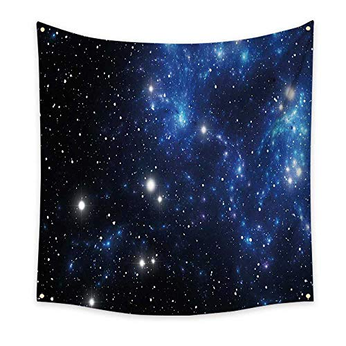 Constellation Dorm Room Tapestry Outer Space Star Nebula Astral Cluster Astronomy Theme Galaxy Mystery Floral Wall Tapestry Blue Black White 70W x 70L Inch