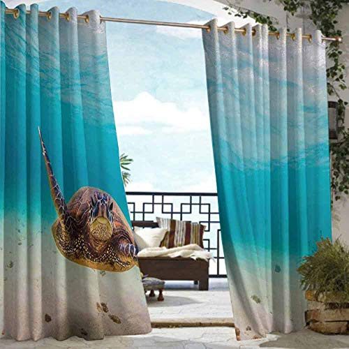 DILITECK Indoor/Outdoor Curtains Hawaiian Underwater Scuba Diving Sea Turtle Nature Animal Swimming Wildlife Theme Waterproof Patio Door Panel W96 xL84 Blue Beige Brown