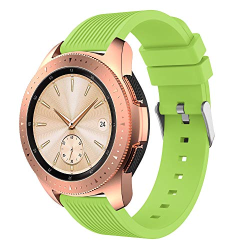 46mm Dial Silicone Band Compatible Samsung Galaxy Watch Straight Stripes Replacement Band Strap (20mm, Light - Green Light Dial Silicone