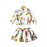 Sanlutoz Kids Girl Jacket Skirt Set 2pcs Outfit Long Sleeves Tracksuit Clothing Set (7-8 years/130cm, CCSGW012)
