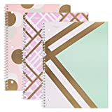 Mead Spiral Notebooks, 1 Subject, College Ruled Paper, 70 Sheets, 10-1/2'' x 7-1/2'', Shape It Up, 3 Pack (38191)