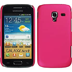 Hardcase for Samsung Galaxy Ace 2 - rubberized hot pink - Cover PhoneNatic + protective foils