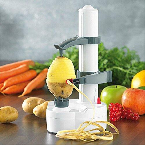 ELEOPTION Multifunction Stainless Steel Electric Fruit Apple Peeler Potato Peeling Machine Automatic (White)