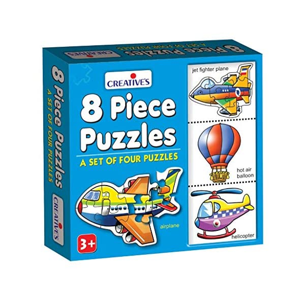 Creative Educational Aids P. Ltd. 8 Piece Puzzles (Multi-Color, Set Of 4)
