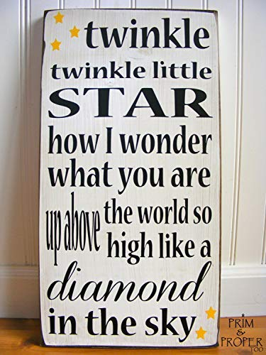 weewen Twinkle Twinkle Little Star Typography Nursery Sign Sayings Home Decor Wall Art Plaque Sign Presents
