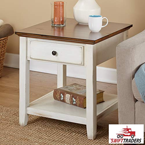 Classic Style Charleston End Table with a Distressed Chestnut Finished Table top Features 1 Drawer and a Shelf in Off-White - with HandSaver Gloves Included