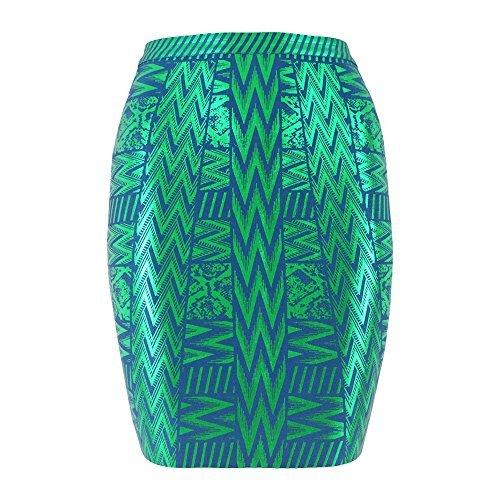 HLBandage Leather Metallic High Waist Bandage Skirt (XXL, Green)