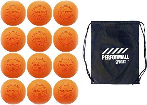 Martin Sports Lax Balls (12-Balls) Lacrosse Balls Orange NCAA/NFHS / SEI/NOCSAE Certified Bundle with 1 Performall Sports Drawstring Bag