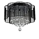 Cheap Dst Modern Black Shade Chandelier Flush Mount Crystal Ceiling Light Lamp with 4 Lamps for Living Room Bedroom Study Room Or Others D16 H13