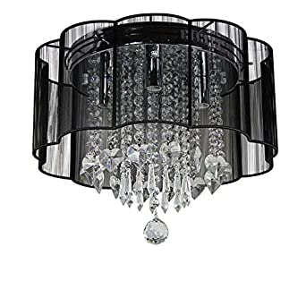 Dst Modern Black Shade Chandelier Flush Mount Crystal Ceiling Light Lamp with 4 Lamps for Living Room Bedroom Study Room Or Others D16 H13