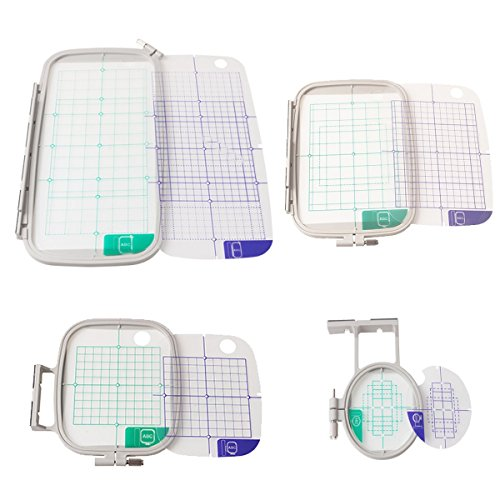 - 4-Piece Embroidery Hoop Set - Replaces SA442 SA443 SA444 SA445 - Hoops for Brother Machines PE-770 700 700II 750D 780D Innov-is 1000 1200 1250D - Babylock Ellure Ellure Plus Emore - Four Piece Replacement Set