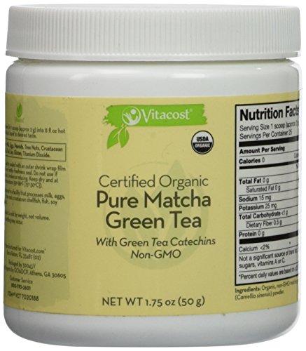 Vitacost Whole Food Certified Organic Pure Matcha Green Tea   Non Gmo    1 75 Oz  50 G