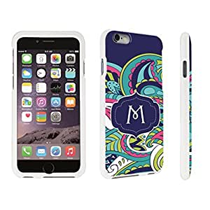 DuroCase ? Apple iPhone 6 Plus - 5.5 inch Hard Case White - (Mint Flower Monogram M)