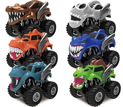 6 Pack Monster Friction Powered Truck Vehicles Big Tire Wheel Car P...