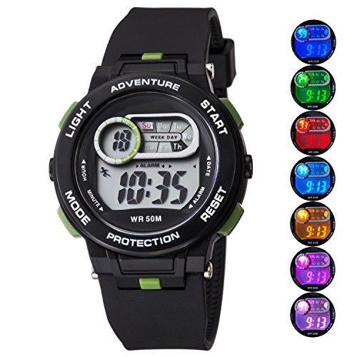 Kid Watch For Boy Girl LED Multi Function Fashion Sport Outdoor Digital Wristwatch Dress Waterproof Alarm Black Green (Black Wrist Watch Green)
