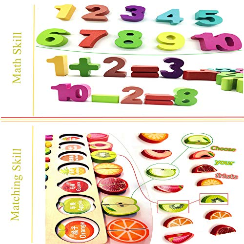 YYoomi-Wooden-Blocks-Puzzle-Board-Set-Early-Education-Toy-with-Cutting-Fruits-Pretend-Food-Playset-for-Children-Girls-Boys-for-Number-Counting-Colors-Stacking-Shape-Sorting