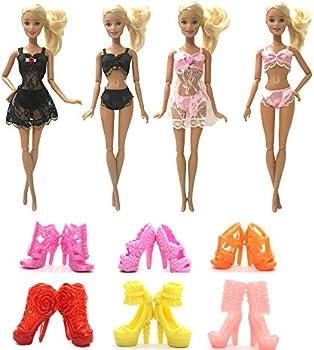 SIDAZHI 2 Set 6 Pcs Dolls Pajamas Gown Dress Set