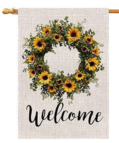 Welcome Sunflower Wreath Large House Flag Vertical Double Sided 28 x 40 Inch Summer Farmhouse Burlap Yard Outdoor Decor ()