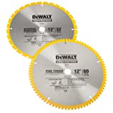 DEWALT DW3128P5 Series 20 12-Inch 80 Tooth and 12-Inch 32T ATB Thin Kerf Crosscutting Miter Saw Blade with 1-Inch Arbor, 2-Pack