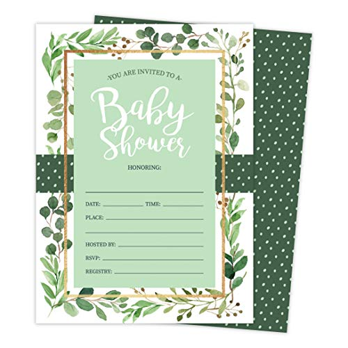Floral Girl 3B Baby Shower Invitations Invite Cards (25 Count) With Envelopes and Seal Stickers Vinyl Girl (25ct Baby)