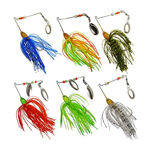FREE FISHER 6 Pcs Fishing Hard Spinner Lure Spinnerbait Metal Spinner Bait Kit Jigs Lure Pike Bass 26g/0.94oz