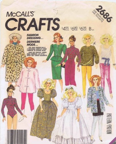Fashion Doll Clothes 1980s McCall's 2686 Vintage