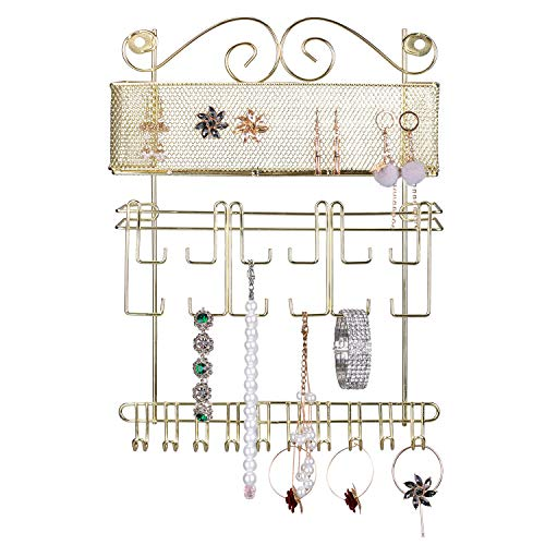 Simmer Stone Wall Jewelry Organizer, Wall Mount Jewelry Hanger with Storage Shelf, Decorative Jewelry Holder for Necklace, Earring, Bracelet, Watch and Accessories, Gold from Simmer Stone