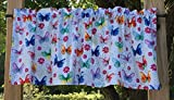 Green Blue Pink Yellow Purple Butterfly Flowers White Handcrafted Valance