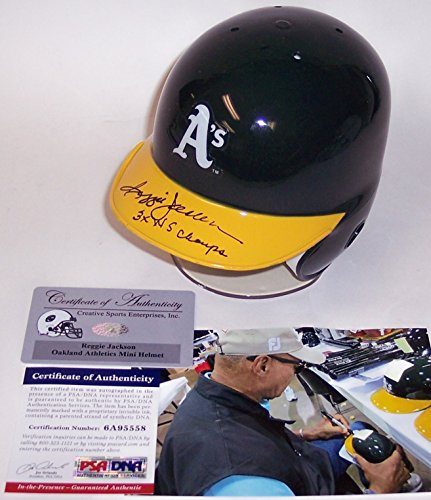 Reggie Jackson Autographed Hand Signed Oakland A's Athletics Mini Batting Helmet - with 3x WS Champs Inscription - PSA/DNA