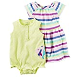 Carter's Baby Girls' Fish Romper And Striped Dress Set Newborn (Newborn, Yellow)