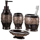 Dublin 4-Piece Bathroom Accessories Set, Includes Decorative Countertop Soap Dispenser, Dish, Tumbler, Toothbrush Holder, Resin Vanity Ensemble Set, Gift Boxed (Brown)