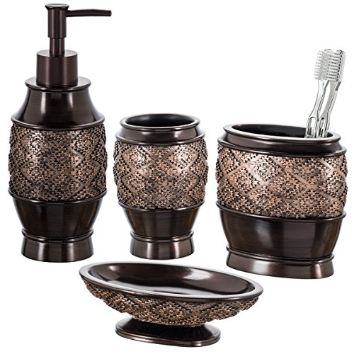 Venetian Decorative Toilet Tissue Holder - Creative Scents Dublin 4-Piece Bathroom Accessories Set, Includes Decorative Countertop Soap Dispenser, Dish, Tumbler, Toothbrush Holder, Resin Vanity Ensemble Set, Gift Boxed (Brown)