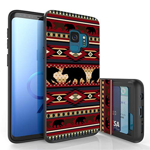 Beyond Cell Slim Dual Layer Wallet Case for Galaxy S9, Card Slot + Wireless Charging Compatible - Bear Southwest Lodge Print ()