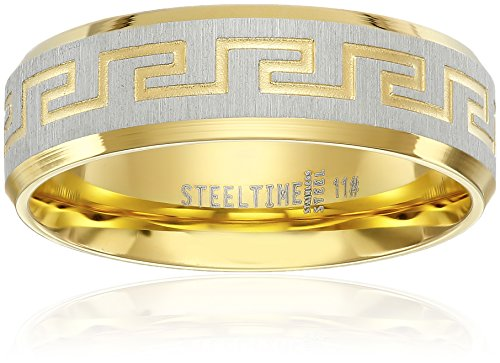 Men's Stainless Steel 18 K Gold Plated with Greek Key Design Ring, Size 10 Mens Greek Key