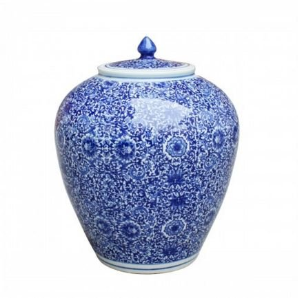 Asian Traditional Chinese Blue & White Cluster Flower Ginger Jar - Small