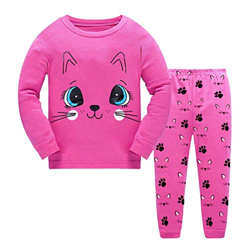 Kids & Toddler Pajamas Kitty Cat Girls 2 Piece Pjs Set 100% Cotton Sleepwear Size 6 7 T