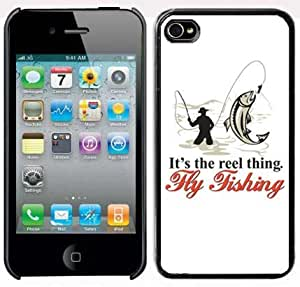 Apple iPhone 4 4S Black 4B199 Hard Back Case Cover Color It's the Reel thing Fly Fishing