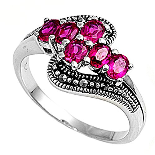 Ruby Swirl Ring (Simulated Ruby Cross Swirl Elegant Ring New .925 Sterling Silver Band Size 9)