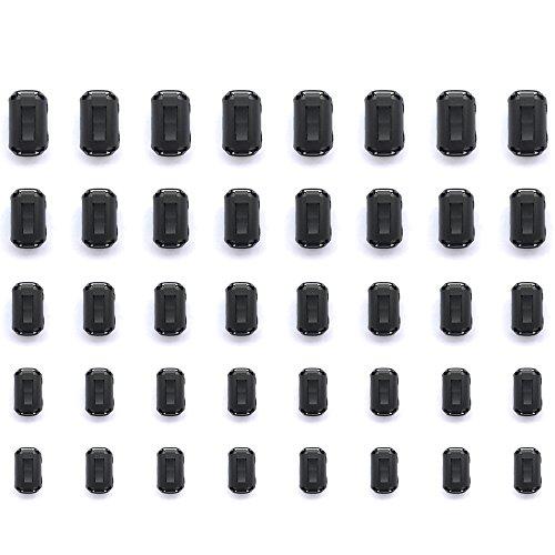 Mflying 40pcs Clip-on Ferrite Magnetic Ring Core RFI EMI Noise Suppressor Cable Clip for 3.5mm / 5mm / 7mm / 9mm / 13mm Dia, 8pcs each