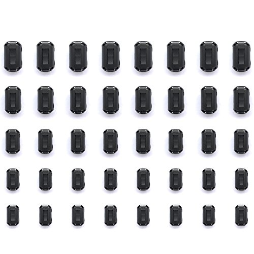 Mflying 40pcs Clip-on Ferrite Magnetic Ring Core RFI EMI Noise Suppressor Cable Clip for 3.5mm / 5mm / 7mm / 9mm / 13mm Dia, 8pcs - Snap Choke