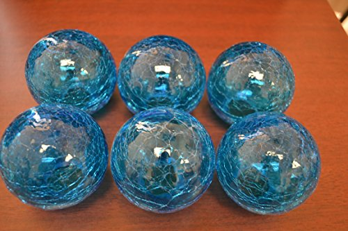 Decorative Glass Balls (6 Pcs Light Blue Decorative Reproduction Blown Glass Float Fishing Buoy Ball 3