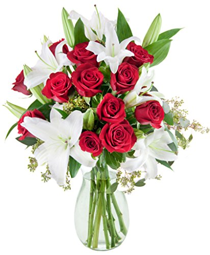 KaBloom Romantic Night at The Met Bouquet of a Dozen Red Roses and 5 White Oriental Lilies Accented with Lush Greens with Vase